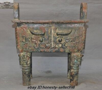 Old Chinese Ancient Bronze ware Taotie Beast face tripod Incense Burner censer