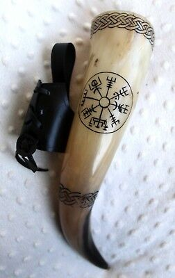 Vegvisir with Celtic knot engraved beer ale viking drinking horn game of thrones