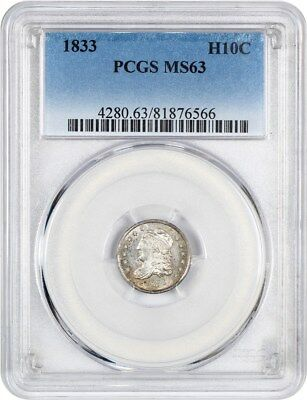 1833 H10c PCGS MS63 - Early Half Dimes