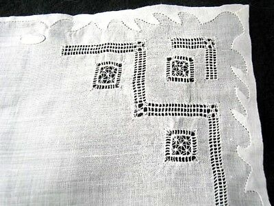 Vintage Dainty Drawn Work & Needle Lace Applique Phillipines  Bridal Hanky White