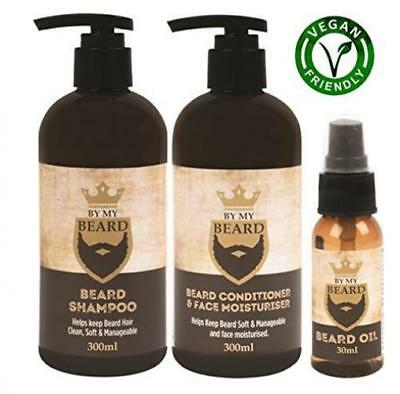 Beard Shampoo Conditioner Face Moisturiser Oil Complete Triple Pack Vegan...