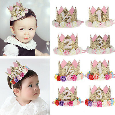 Baby Girl 1st Birthday Party Hat Flower Princess Crown Decor Hair Accessories AU
