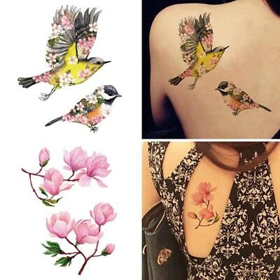 2PCs Waterproof Temporary Tattoo Stickers Cartoon Unicorn Flowers Children Gifts