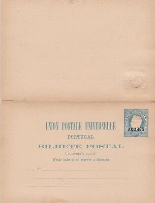 Azores-1878 Unused 20 + 20 Reis blue postal stationery postcard with reply cover