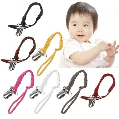 Braided Binky Clip Leather Pacifier Clip Chain Nipple Dummy Clip Pacifier Holder