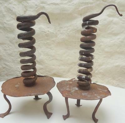 Pair 18Th  Century Wrought Iron Spiral Candle Holder / Candle Stick