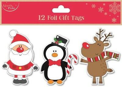12 Foil Gift Tags Christmas Penguin Xmas Gift Wrapping Present Various Designs