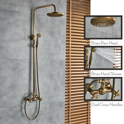 8-inch Antique Brass Bath Shower System Faucet Set Rain Head Sprayer Mixing Tap