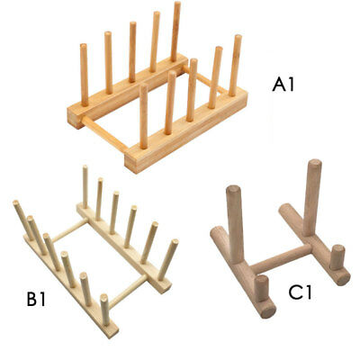 7\'\' WOODEN PLATE Rack Wood Dish Stand Display Holder 4 Section Rack ...
