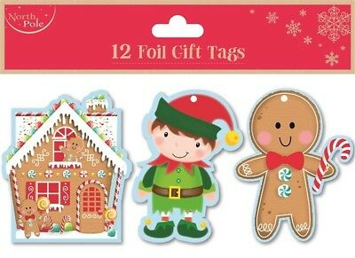 12 Foil Gift Tags Christmas Gingerbread Gift Wrapping Present Various Designs