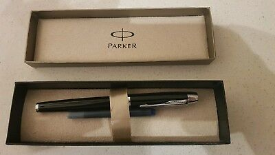 Parker Pen IM Black with Silver Trim Fountain Pen Brand New In Gift Box