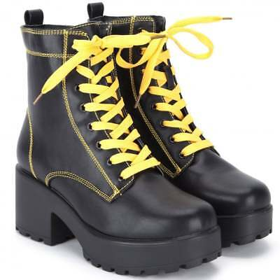 549298c953aa Black Yellow Chunky Block Heel Lace Up Biker Combat Platform Ankle Boots  Shoes