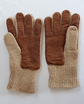 Wwii Usaaf U.s. Army Air Force Officers Khaki/tan Wool Gloves W/leather Palms