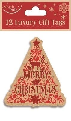 12 Luxury Gift Tags Christmas Tree Xmas Gift Wrapping Present Various Designs