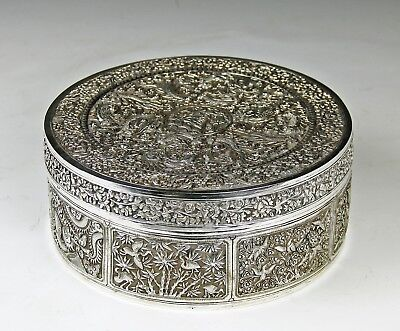 Large + Exceptional Antique Chinese Silver And Gilt Covered Box With Insert