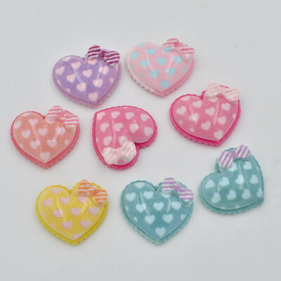 New 20pcs resin Coloured drawing Bow heart Flatback stone scrapbook wedding DIY