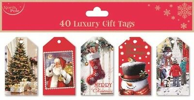 40 Luxury Gift Tags Traditional Christmas Xmas Gift Wrapping Present Red New
