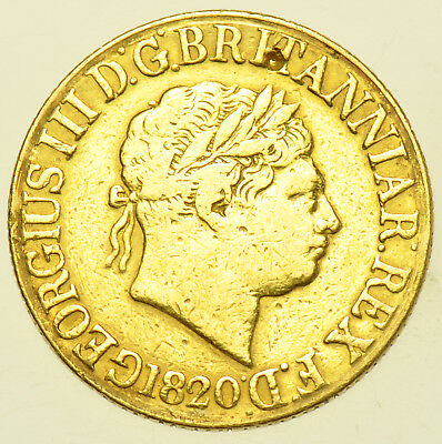 1820 SOVEREIGN BRITISH GOLD COIN FROM GEORGE III aVF