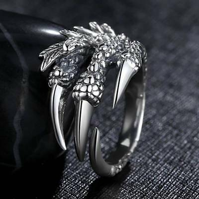 Fashion Men Skull Claw Dragon Claw Eagle Claw Adjustable Stainless Steel Ring