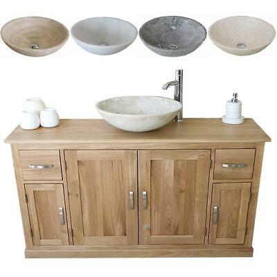 Bathroom Vanity Unit Oak Cabinet Furniture Wash Stand & Marble Stone Basin 402