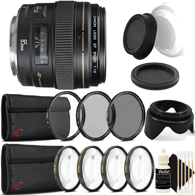 Canon EF 85mm f/1.8 USM Autofocus Lens with Accessories for Canon SLR Cameras