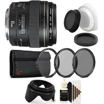 Canon EF 85mm f/1.8 USM Autofocus Lens with Accessory Kit for Canon SLR Cameras