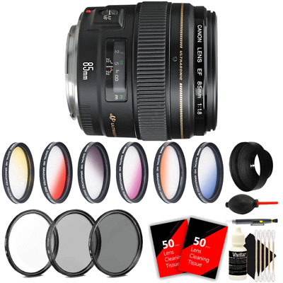Canon EF 85mm f/1.8 USM AutoFocus Telephoto Lens with Accessory Kit