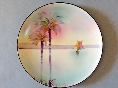 A Lovely Porcelain Nippon Plate of a Sail Boat and Palm Trees