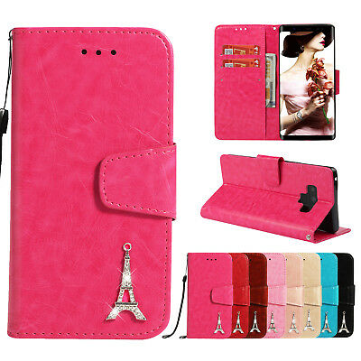 3D Tower Magnetic PU Flip Stand Card Wallet Leather Case Cover For Various Phone