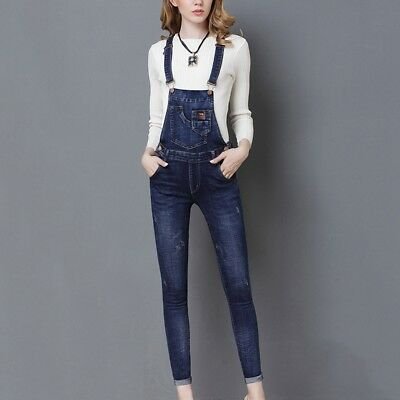 816863f566bac Hot Women Denim Trousers Ladies Jeans Overalls Long Straight Jumpsuit Bib  Pants