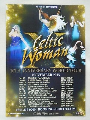 CELTIC WOMAN/Irish Folk 10th Anniversary World Tour UK 2015 Promo flyers x 2
