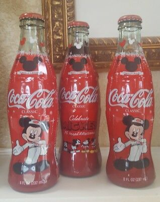 Lot of 3 Disney Mickey Mouse 75 Anniversary Coca-Cola Coke Bottles FREE SHIPPING