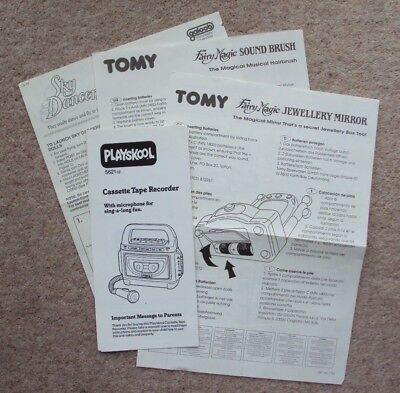 Vintage Toy Leaflets x 4 Instructions for Tomy Playskool Children's Toys VGC