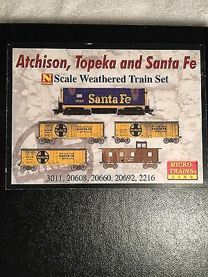 Mtl Micro-Trains N 993 01 280 At&sf Weathered , Loco, 3 Cars & Caboose