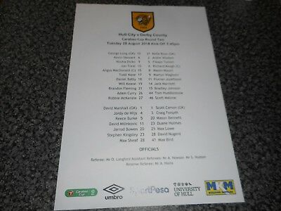 HULL CITY  v  DERBY COUNTY 2018/19 CARABAO CUP (LEAGUE CUP) 2  AUG 28 TEAM SHEET