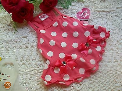 CORAL DOT BOW STRAP DRESS Pet Puppy Dog Cat XS new petco Smoochie Pooch xsmall