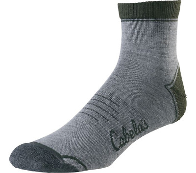 Cabela's Men's Insect Defense System Low-Cut Socks Grey/Green Sizes M L or XL