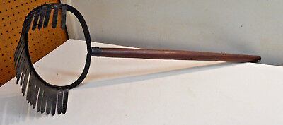 L1296- Antique Unique Hand Forged Tool - Clam Oyster Rake? Estate Find