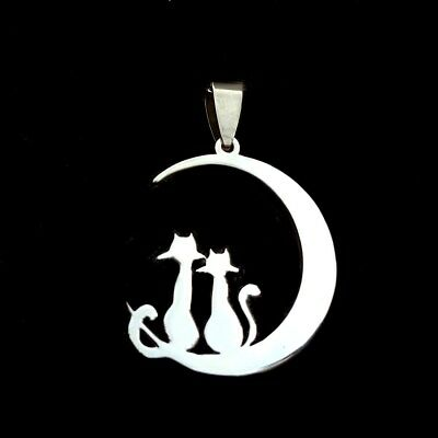 NEW Moon Cat Silver 316L Stainless Steel Titanium Pendant Necklace W40