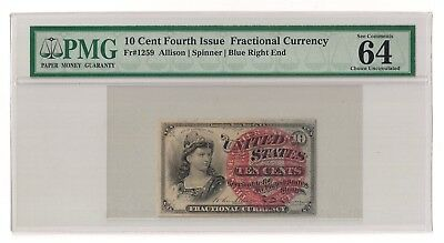 Fr#1259 10¢ 4th Issue Fractional, Blue Right End, PMG 64 EPQ