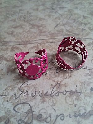 Adjustable Ring Blanks Filigree Settings with Pad Fuchsia Pink Glue On 5/10/20