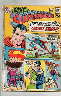 Superman # 222 / Good / 80 Page Giant / Secret Family Issue.