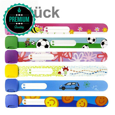 Child Safety ID Wristband , Band Reusable Wristbands for Kids, Variety of...