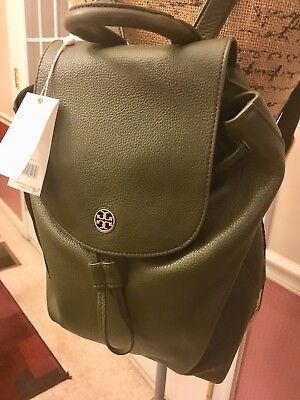 be9f6f90e5d NWT TORY BURCH Landon Flap Backpack in Bark Brown Pebbled Leather ...