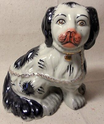 Brittany Cocker Spaniel Dog Pink Nose Gold Chain Hand Painted 5 1/2 inches tall