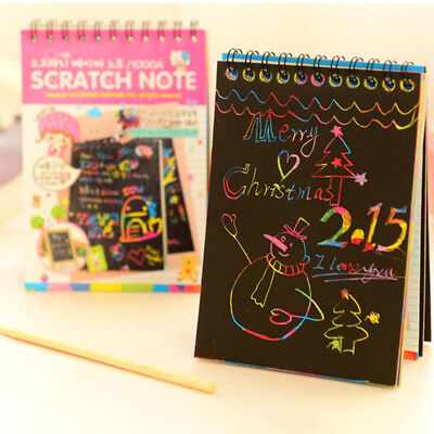 Colorful Rainbow Paper Scratch Art Graffiti Drawing Doodle Pad Book Kids Toy