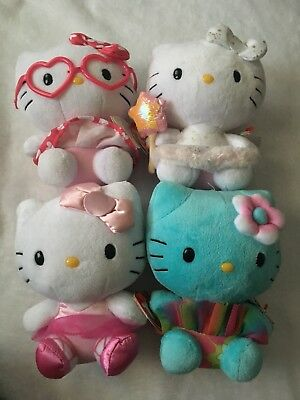 Used Hello Kitty Plush Beanie Baby TY lot of 4 USA Seller