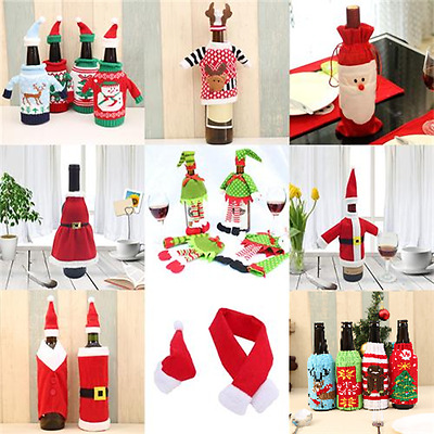 Merry Christmas Santa Wine Bottle Bags Cover Xmas Dinner Party Table Decor_N