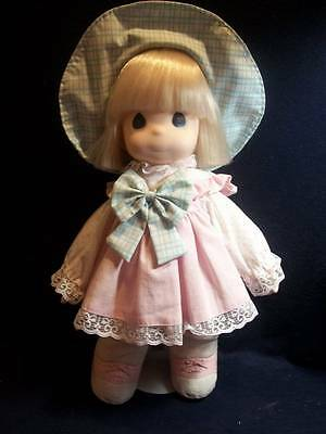 """Precious Moments Doll & Stand ~❤️~ 1993 Blond Pink Cute Dress 16"""" Blue Eyes"""