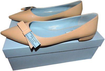 4c524974a6c Prada Logo Bow Flats Loafer 39 Beige Leather Ballerina Ballet Pointed Toe  Shoes